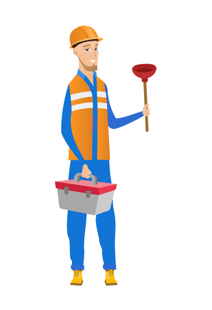 Caucasian plumber with toilet plunger and tool box. Full length of young smiling plumber in hard hat holding plunger and tool box. Vector flat design illustration isolated on white background. Illustration