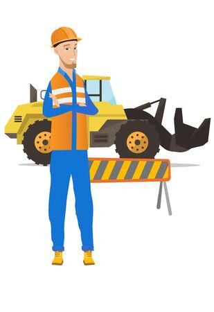 Confident caucasian builder with arms crossed.