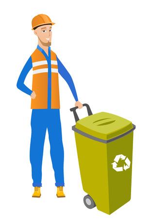 Young caucasian builder pushing recycle bin.