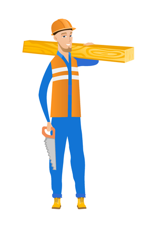 blade: Smiling caucasian carpenter holding saw and wooden board. Full length of young cheerful carpenter with hand saw and wooden board. Vector flat design illustration isolated on white background.