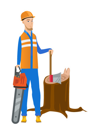 Young caucasian lumberjack holding chainsaw. Lumberjack in workwear and hard hat standing near stump with axe. Lumberjack chopping wood. Vector flat design illustration isolated on white background. Illustration