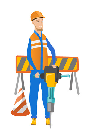 hard: Caucasian builder worker working with pneumatic hammer drill equipment at construction site. Young builder using pneumatic hammer. Vector flat design illustration isolated on white background.