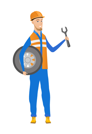 hard: Young caucasian mechanic with tyre and spanner. Illustration