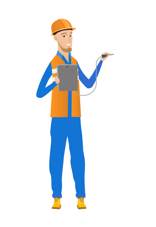 Caucasian electrician with electrical equipment.