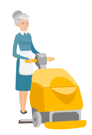 Caucasian female worker cleaning the store floor with a machine. Senior woman using cleaning machine to clean the floor. Cleaning service. Vector flat design illustration isolated on white background. Illustration