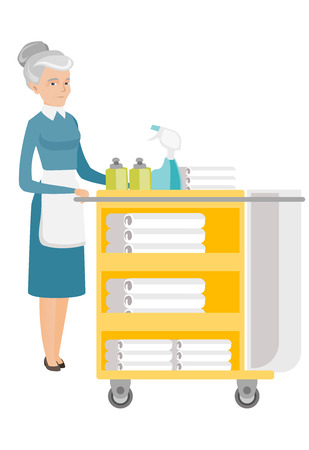 Caucasian chambermaid pushing a cart with bed clothes. Full length of senior chambermaid with trolley with linen. Hotel room service. Vector flat design illustration isolated on white background. Illustration