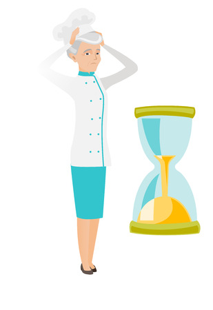 concerned: Caucasian worried chef clutching her head while looking at hourglass. Senior chef concerned by the end of countdown of hourglass. Vector flat design illustration isolated on white background Illustration