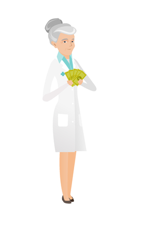 Senior caucasian doctor in medical gown holding money. Excited doctor standing with money in hands. Full length of doctor with money. Vector flat design illustration isolated on white background.