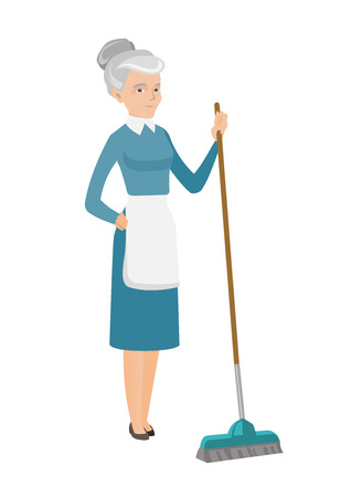 Caucasian housemaid in uniform doing housework with a broom. Senior housemaid sweeping floor with a broom. Housemaid holding broom in hand. Vector flat design illustration isolated on white background