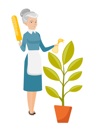 wash: Caucasian housemaid in uniform watering a flower with spray and sweeping away dust from flower with a brush. Home cleaning service concept. Vector flat design illustration isolated on white background