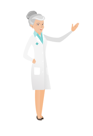 Caucasian doctor standing with outstretched hand. Full length of senior doctor pointing at something by her outstretched hand. Vector flat design illustration isolated on white background. Illustration
