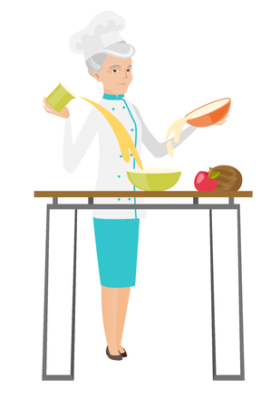 Senior caucasian chef cook preparing delicious food. Chef cook in uniform preparing meal. Vector flat design illustration isolated on white background.
