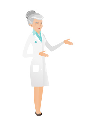 Senior caucasian doctor in medical gown gesticulating. Full length of doctor gesticulating with hands. Doctor laughing and gesticulating. Vector flat design illustration isolated on white background. Ilustração