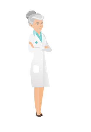 arms folded: Senior caucasian confident doctor with folded arms. Full length of doctor with folded arms standing in a pose signifying confidence. Vector flat design illustration isolated on white background. Illustration