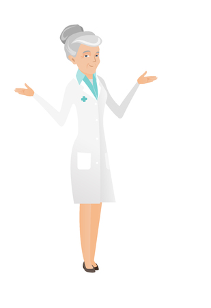 Senior confused doctor in medical gown with spread arms. Caucasian confused doctor with spread arms. Confused doctor shrugging shoulders. Vector flat design illustration isolated on white background.