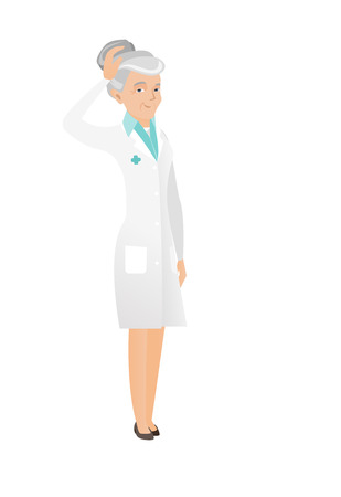 thoughtful: Caucasian doctor in medical gown scratching head. Full length of thoughtful doctor scratching head. Puzzled senior doctor scratching head. Vector flat design illustration isolated on white background. Illustration