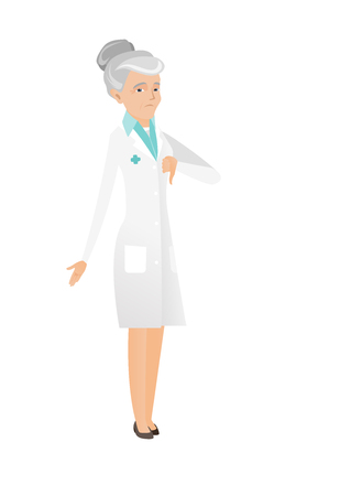Disappointed caucasian doctor with thumb down. Full length of senior doctor in medical gown showing thumb down. Doctor with thumb down. Vector flat design illustration isolated on white background.