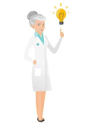 came: Caucasian doctor pointing at bright idea lightbulb. Full length of senior doctor having a creative idea. Doctor came up with a great idea. Vector flat design illustration isolated on white background.