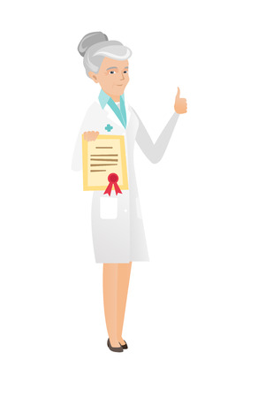 qualification: Caucasian doctor holding a certificate. Senior doctor with certificate. Doctor in medical gown showing certificate and thumb up. Vector flat design illustration isolated on white background.