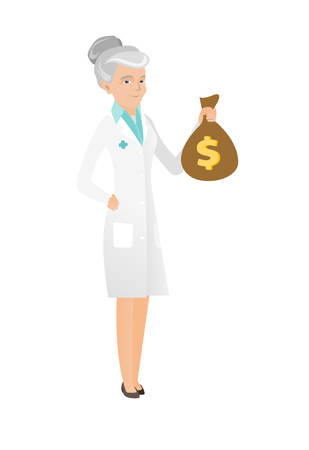 Caucasian doctor showing money bag with dollar sign. Full length of senior doctor in medical gown holding a money bag. Vector flat design illustration isolated on white background.
