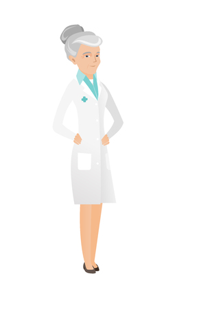 Senior caucasian happy doctor in medical gown. Full length of happy aged female doctor with hands on the waist. Vector flat design illustration isolated on white background.