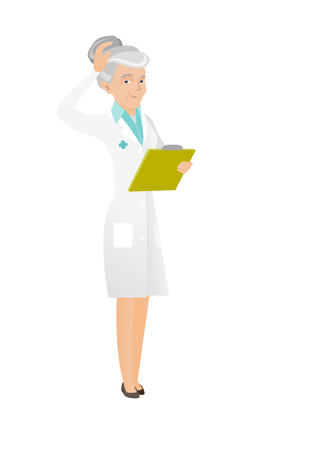 Confused caucasian doctor in medical gown scratching head while reading documents in clipboard. Senior thoughtful doctor scratching head. Vector flat design illustration isolated on white background.