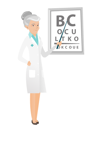 Caucasian ophthalmologist doctor standing on the background of eye chart. Ophthalmologist examining vision of a patient with an eye chart. Vector flat design illustration isolated on white background. Illustration