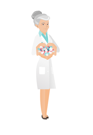 Caucasian pharmacist holding lots of pills in hands. Senior pharmacist in medical gown with handful of pills. Pharmacist giving pills. Vector flat design illustration isolated on white background. Ilustração