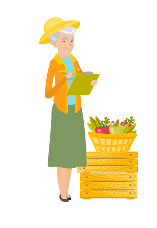Caucasian farmer holding clipboard and taking notes on the background of basket with fruits and vegetables. Farmer writing on clipboard. Vector flat design illustration isolated on white background.
