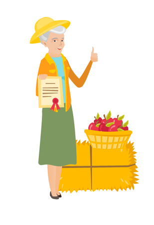 Caucasian farmer standing with certificate on the background of hay bale and basket of apples. Farmer showing certificate and thumb up. Vector flat design illustration isolated on white background. Illusztráció