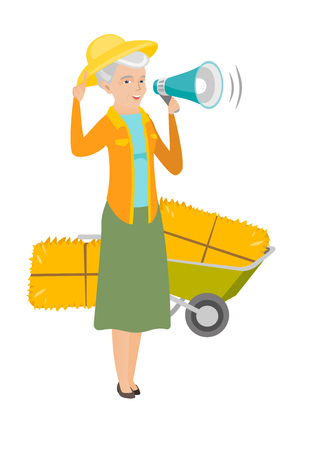 Full length of senior caucasian female farmer making announcement through a loudspeaker on the background of hay bale and wheelbarrow. Vector flat design illustration isolated on white background.