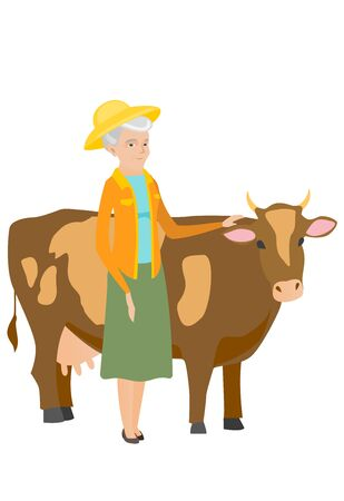 Senior caucasian farmer stroking a cow. Female farmer standing near a cow. Smiling cow breeder standing in front of cow. Vector flat design illustration isolated on white background.