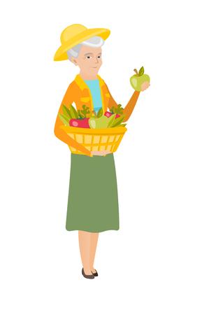 Agricoltore caucasico caucasico che tiene cesto con raccolta fresco delle verdure e del germoglio del raccolto del germoglio di verdure e verdura vector l & # 39 ; illustrazione di vettore del disegno isolato su fondo bianco