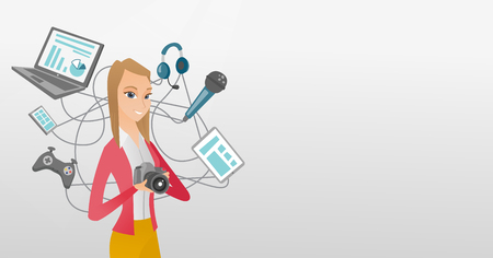 Caucasian woman taking photo with digital camera. Woman surrounded by her gadgets. Woman using many electronic gadgets. Girl addicted to modern gadgets. Vector cartoon illustration. Horizontal layout.