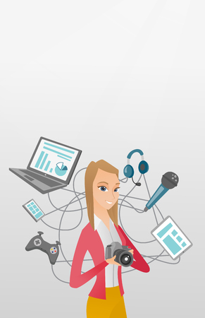 earphone: Caucasian woman taking photo with digital camera. Woman surrounded by her gadgets. Woman using many electronic gadgets. Girl addicted to modern gadgets. Vector cartoon illustration. Vertical layout. Illustration