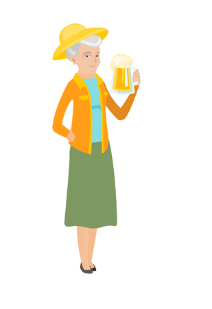 Cheerful caucasian farmer in sumer hat drinking beer. Full length of smiling farmer with glass of beer. Senior farmer holding mug of beer. Vector flat design illustration isolated on white background