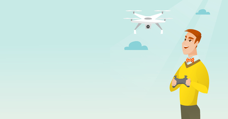 wireless: Young caucasian man flying drone with a remote control. Cheerful man operating a drone with a remote control. Happy man controling a drone. Vector cartoon illustration. Horizontal layout.