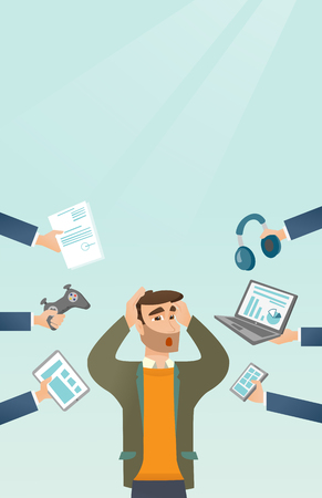 Young caucasian scared man clutching head and many hands with gadgets around him. Man in despair surrounded by gadgets. Man using many electronic gadgets. Vector cartoon illustration. Vertical layout.