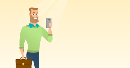 Young caucasian businessman with briefcase making selfie. Businessman taking photo with a cellphone. Businessman looking at smartphone and taking selfie. Vector cartoon illustration. Horizontal layout
