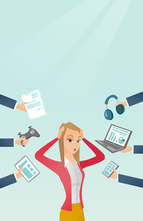 Young caucasian woman clutching head and many hands with gadgets around her. Woman in despair surrounded by gadgets. Woman using many electronic gadgets. Vector cartoon illustration. Vertical layout. Illustration