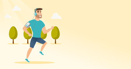 electronic music: Caucasian man running with earphones and armband for smartphone. Young man using smartphone with armband to listen to music while running in the park. Vector cartoon illustration. Horizontal layout. Illustration