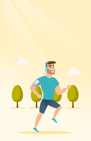 Caucasian man running with earphones and armband for smartphone. Young man using smartphone with armband to listen to music while running in the park. Vector cartoon illustration. Vertical layout.