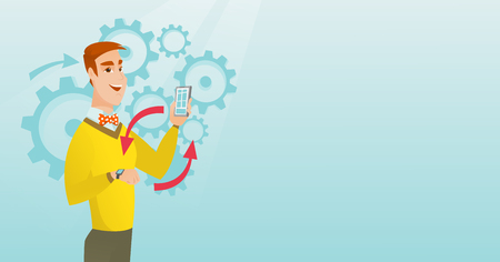Young caucasian man showing his smartphone and smart watch on the background of cogwheels. Concept of synchronization between smartwatch and smartphone. Vector cartoon illustration. Horizontal layout. Illustration
