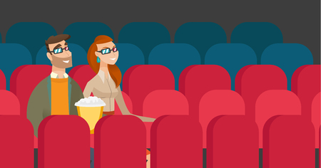 Caucasian couple watching 3D movie in the theatre. Illustration