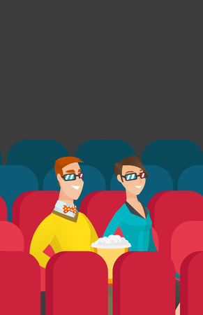 3 d glasses: Caucasian couple watching 3D movie in the theatre. Illustration
