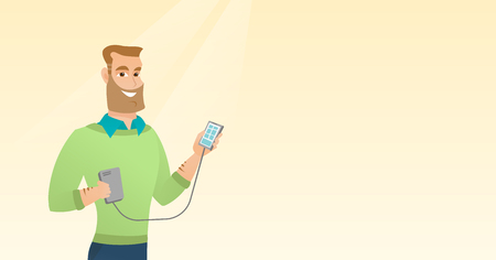 Man reharging smartphone from portable battery. Stock Illustratie