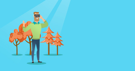 Excited cheerful caucasian gamer wearing virtual reality headset in the park. Young man using virtual reality glasses and playing videogame in the park. Vector cartoon illustration. Horizontal layout. Illustration