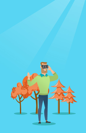 Excited cheerful caucasian gamer wearing virtual reality headset in the park. Young man using virtual reality glasses and playing videogame in the park. Vector cartoon illustration. Vertical layout.