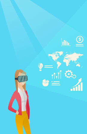Young caucasian business woman wearing virtual reality headset and looking at digital display with business graphs. Business woman analyzing virtual data. Vector cartoon illustration. Vertical layout.