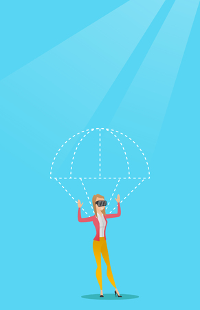 Caucasian woman wearing virtual reality glasses and flying with a parachute. Young excited woman in vr headset having fun while flying in virtual reality. Vector cartoon illustration. Vertical layout.
